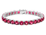 12.00 Carat (ctw) Lab-Created Ruby Bracelet in Sterling Silver