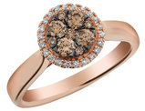 Champagne and White Diamond Ring with Halo 1/2 Carat (ctw) 14K Rose Gold