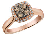 Champagne and White Diamond Ring 1/2 Carat (ctw) with Halo in 14K Rose Gold