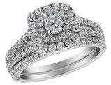 Diamond Halo Engagement Ring and Wedding Band Set 1.0 Carat (ctw) 14K White Gold