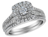 1.00 Carat (ctw G-H-I, I1-I2) Diamond Halo Engagement Ring and Wedding Band Set 14K White Gold