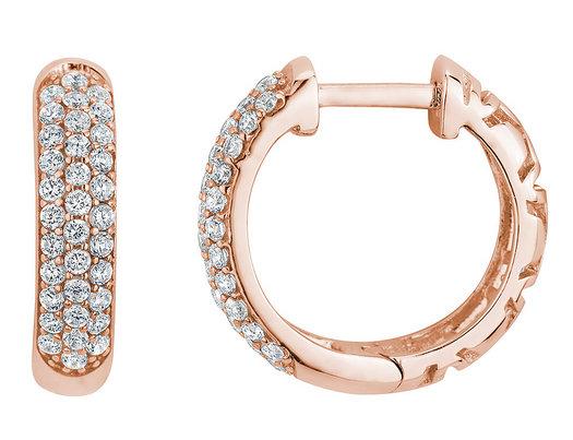 Simulated Crystal Huggie Hoop Earrings in Sterling Silver with Rose Gold Plating (3/4 inch)