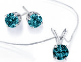 Blue Diamond Necklace and Earring Set 1/2 Carat (ctw) in 14K White Gold