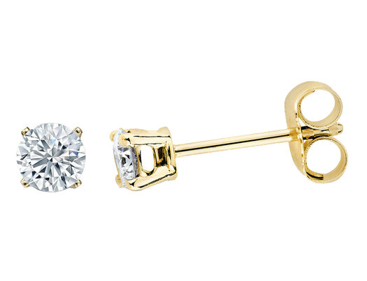 1/6 Carat (ctw I2-I3) Solitaire Stud Diamond Earrings in Yellow Gold Plated Sterling Silver