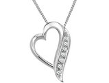 Sterling Silver Floating Heart Diamond accent Pendant Necklace in  with Chain