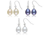 Set of 3 Freshwater Multicolor Cultured Pearl 9-10mm Drop Earrings in Sterling Silver