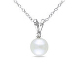 Solitaire Freshwater Cultured Button Pearl 7-8mm Pendant Necklace in Sterling Silver with Chain