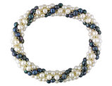 Twisted Black and White Freshwater Cultured 4-5mm Potato Pearl Stretch Bracelet (7 inch)