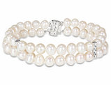 Double Strand Freshwater Cultured 6-7mm Pearl Bracelet (7.5 inch) in Sterling Silver