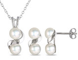 Freshwater Cultured Double Pearl 5.5-6mm Necklace and Earring Set in Sterling Silver with Chain