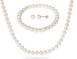 Freshwater Cultured Potato Pearl 6-7mm Necklace, Stretch Bracelet and Earring Set in Silver Plating