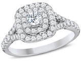 IGI Certified 1.00 Carat (Clarity I1-I2) Double Halo Diamond Engagement Ring in 14K White Gold