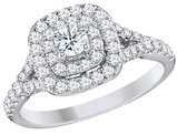 9/10 Carat (Color H-I, Clarity I2-I3) Halo Diamond Engagement Ring in 14K White Gold