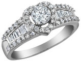 Diamond Heart Engagement Ring 1.0 Carat (ctw Color H-I Clarity I2-I3) in 10K White Gold