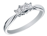 Princess Cut Three Stone Diamond Engagement Ring and Anniversary Ring 1/4 Carat (ctw) in 14K White Gold
