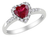 Lab Created Ruby Heart Ring 1.10 Carat (ctw) with Diamonds in Sterling Silver