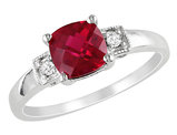 Created Ruby Ring 1.50 Carat (ctw) with Diamonds in Sterling Silver