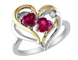 Created Ruby Heart Ring 1.10 Carat (ctw) with Diamonds in Sterling Silver with Yellow Plating