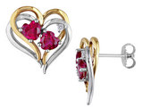 Lab Created Ruby Heart Earrings 2.40 Carat (ctw) with Diamond in Sterling Silver with Yellow Plating