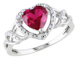 Created Ruby Heart Ring 1.70 Carat (ctw) with Diamonds in Sterling Silver
