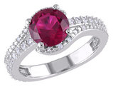Created Ruby Ring 1.40 Carat (ctw) with Diamonds in Sterling Silver