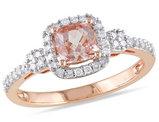 Diamond and Morganite 4/5 Carat (ctw) Ring in 10K Rose Gold