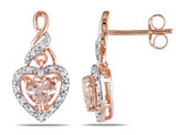 Morganite and Diamond Heart Earrings 1.15 Carat (ctw) in 10K Rose Gold