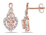 1.15 Carat (ctw) Morganite & Diamond Heart Dangle Earrings in 10K Rose Gold