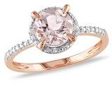 Morganite and Diamond Ring 1.20 Carat (ctw) in 10K Rose Gold