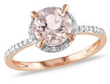Morganite and Diamond Ring 1.20 Carat (ctw) in 10K Rose Gold