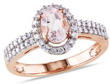Morganite and Diamond Ring 1.10 Carat (ctw) in 10K Rose Gold