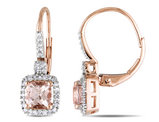 Morganite and Diamond Earrings 1.30 Carat (ctw) in 10K Rose Gold