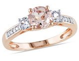 1.20 Carat (ctw) Morganite & Lab-Created White Sapphire Three Stone Ring with Diamonds in 10K Rose Pink Gold