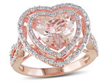 3/4 Carat (ctw) Morganite Heart Ring in 10K Rose Gold with Diamonds