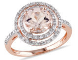 Morganite and Diamond Double Halo Ring 2.0 Carat (ctw) in 10K Rose Gold