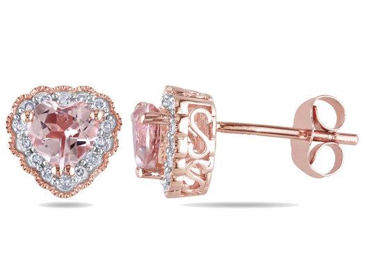 Morganite and Diamond Heart Earrings 1.10 Carat (ctw) in 10K Rose Gold