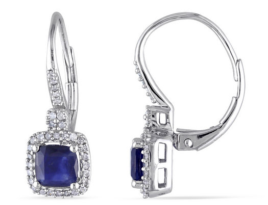 Blue Sapphire and Diamond Earrings 1.60 Carat (ctw) in 10k White Gold