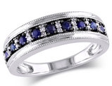 Blue Sapphire Ring 3/5 Carat (ctw) with Diamonds in 10k White Gold