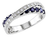Created Blue Sapphire and Diamond Ring 1.10 Carat (ctw) in Sterling Silver