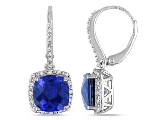 Lab-Created Blue Sapphire & Diamond Earrings 6.70 Carat (ctw) in Sterling Silver