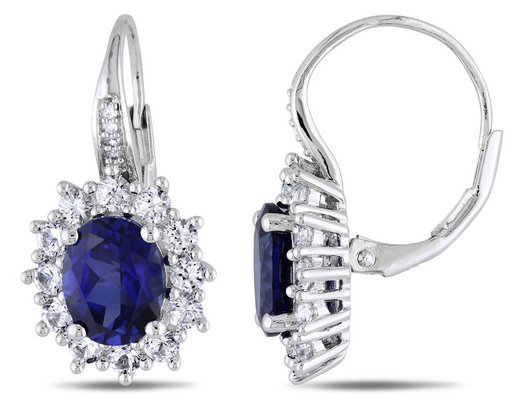 Created Blue Sapphire and Created White Sapphire Earrings 8.00 Carat (ctw) with Diamonds in Sterling Silver
