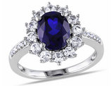 3.90 Carat (ctw) Lab-Created Blue & White Sapphire Ring in Sterling Silver