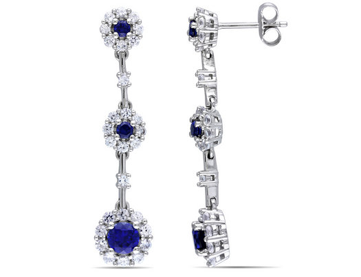 Created Blue and White Sapphire Earrings 3.50 Carat (ctw) in Sterling Silver