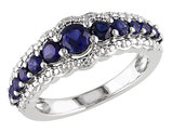 Created Blue Sapphire Ring 1.15 Carat (ctw) in Sterling Silver