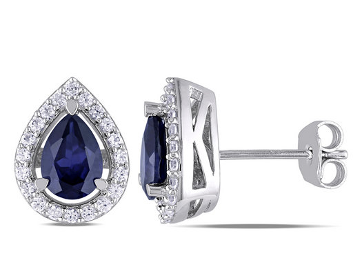 Created Blue and White Sapphire Earrings 2.65 Carat (ctw) in Sterling Silver