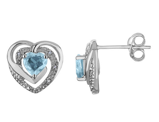Aquamarine Heart Earrings with Diamonds 4/5 Carat (ctw) in Sterling Silver