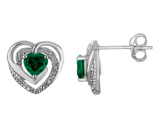 2/3 Carat (ctw) Lab-Created Emerald Heart Earrings in Sterling Silver