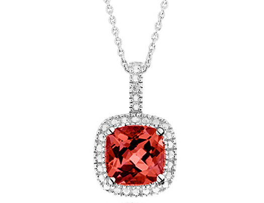 Garnet Pendant Necklace with Diamond Accent 1 3/4 Carat (ctw) in Sterling Silver with Chain