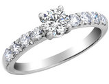9/10 Carat (ctw Color H-I, Clarity I1-I2) Diamond Engagement Ring 14K White Gold
