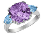 3.90 Carats (ctw) Amethyst & Blue Topaz Ring in Sterling Silver